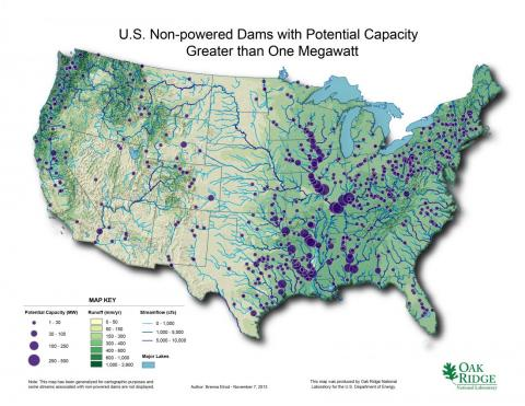 Map of US Non Powered Dams with Potential Capacity > 1MW